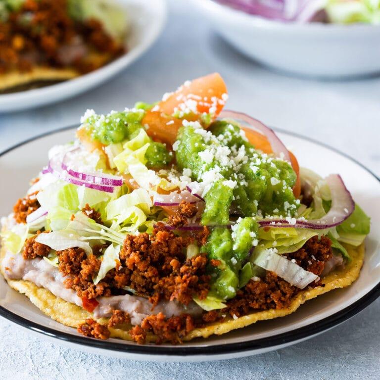 Chorizo Tostada With Easy Guacamole Salsa