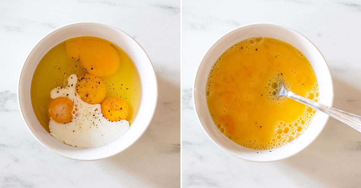 A collage with eggs and milk on a white bowl.