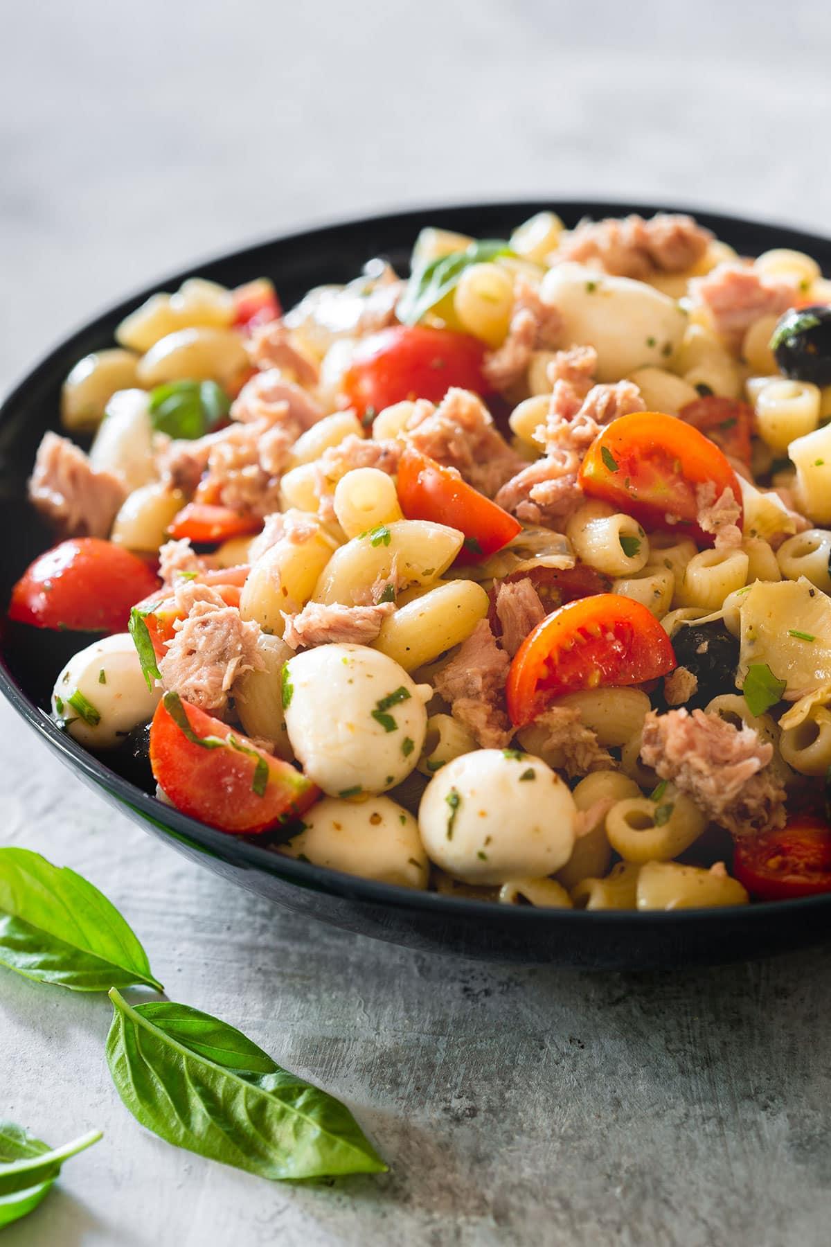 Italian tuna pasta salad on a bowl.