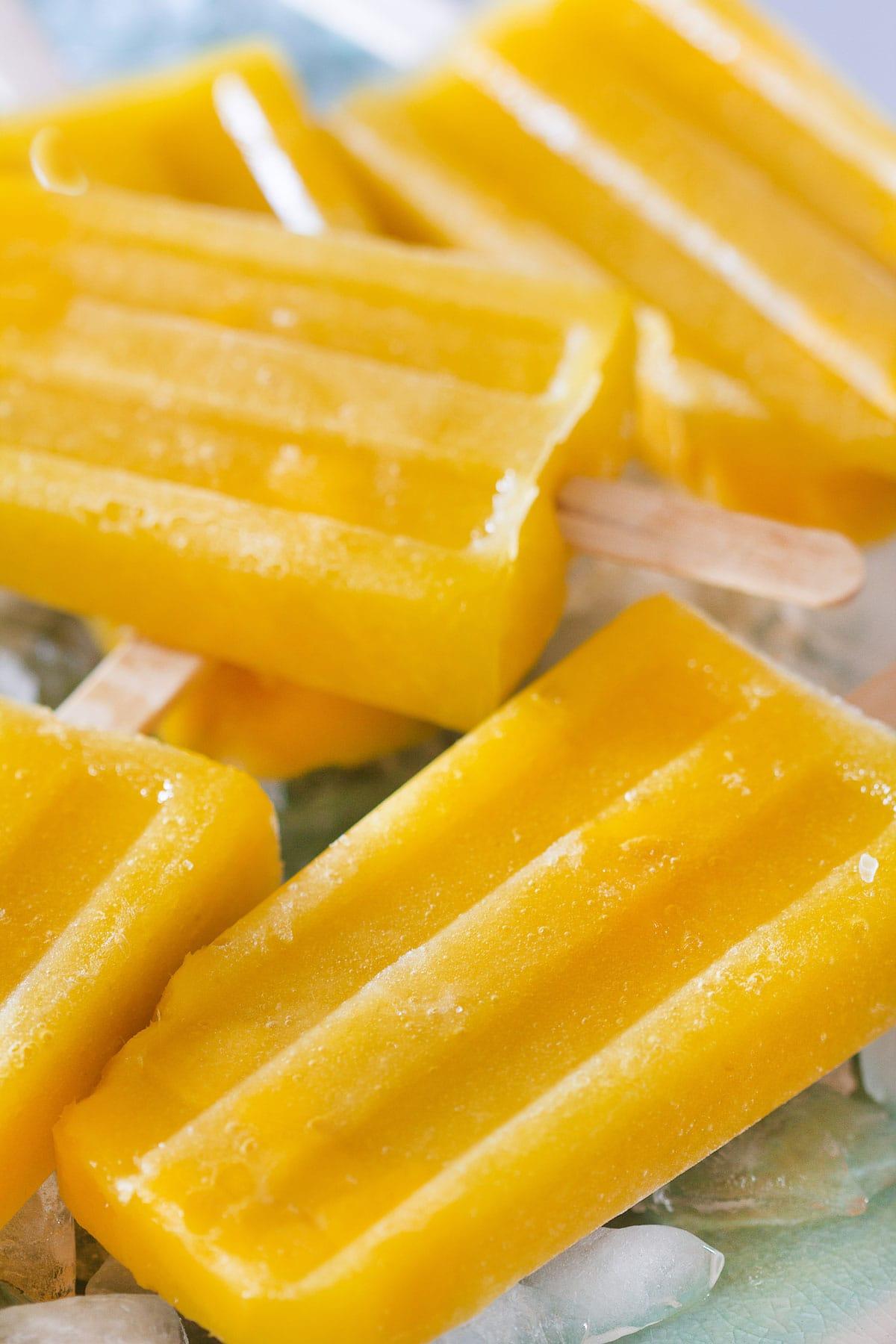 Paletas de mango (mango popsicles) closeup.