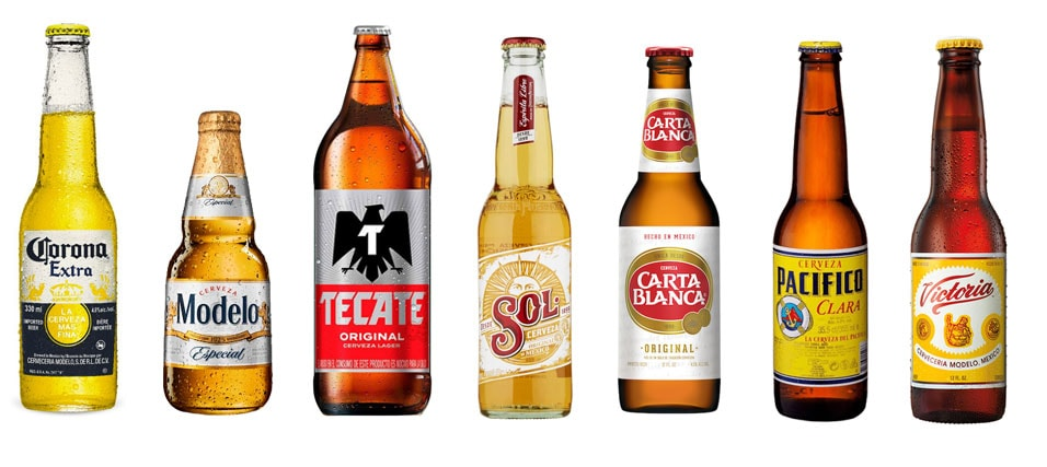 A collage made with various Mexican beer brands.