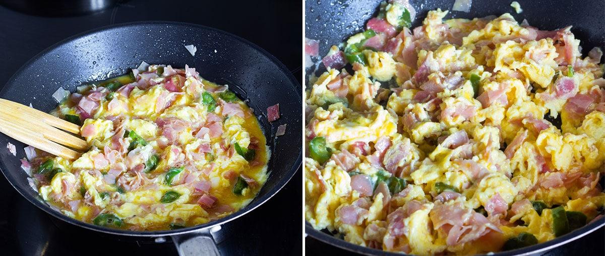 Scrambling the eggs with ham.