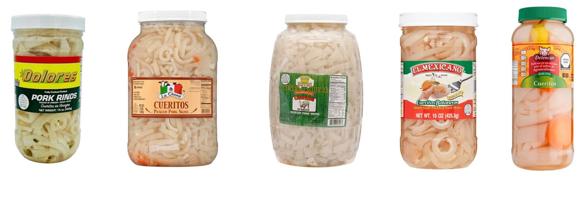 Various store-bought cueritos brands.