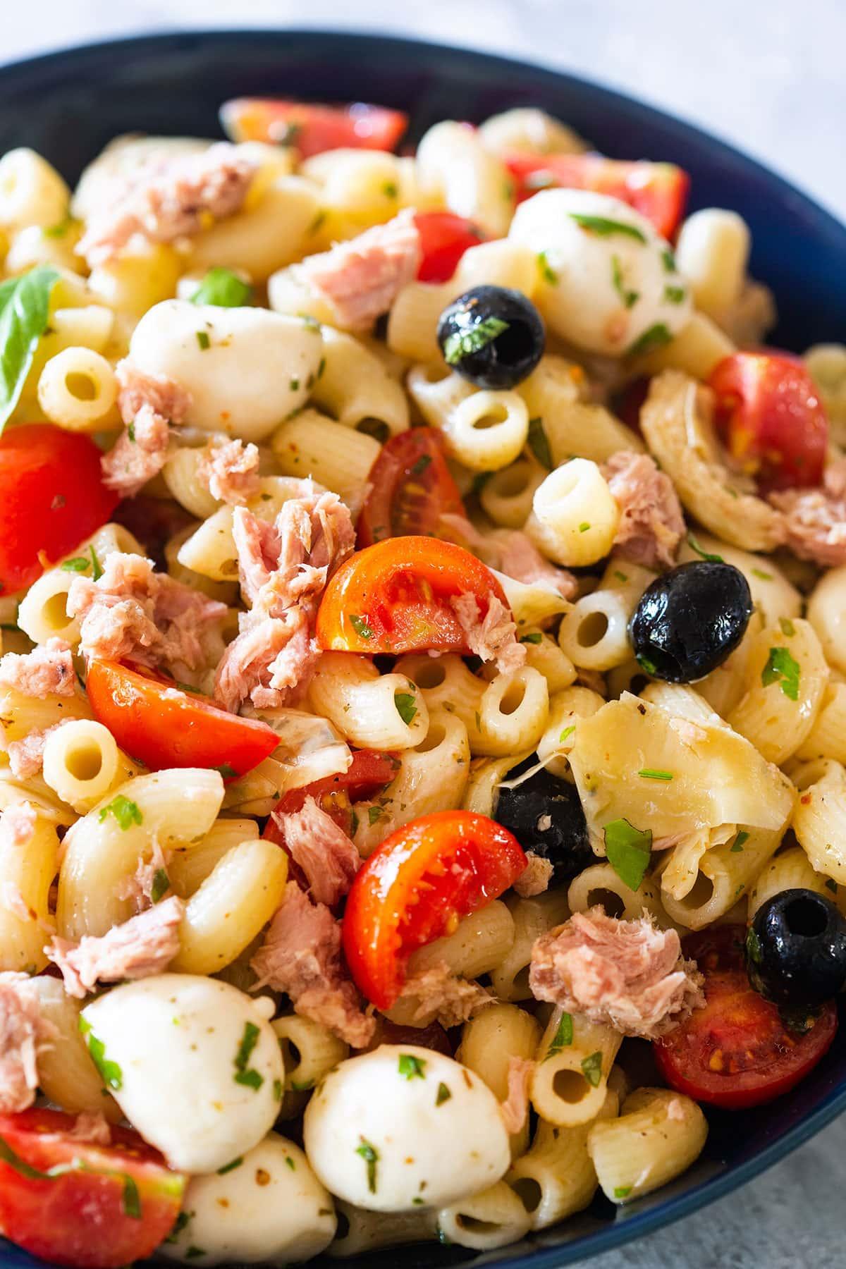 A closeup on tuna pasta salad.