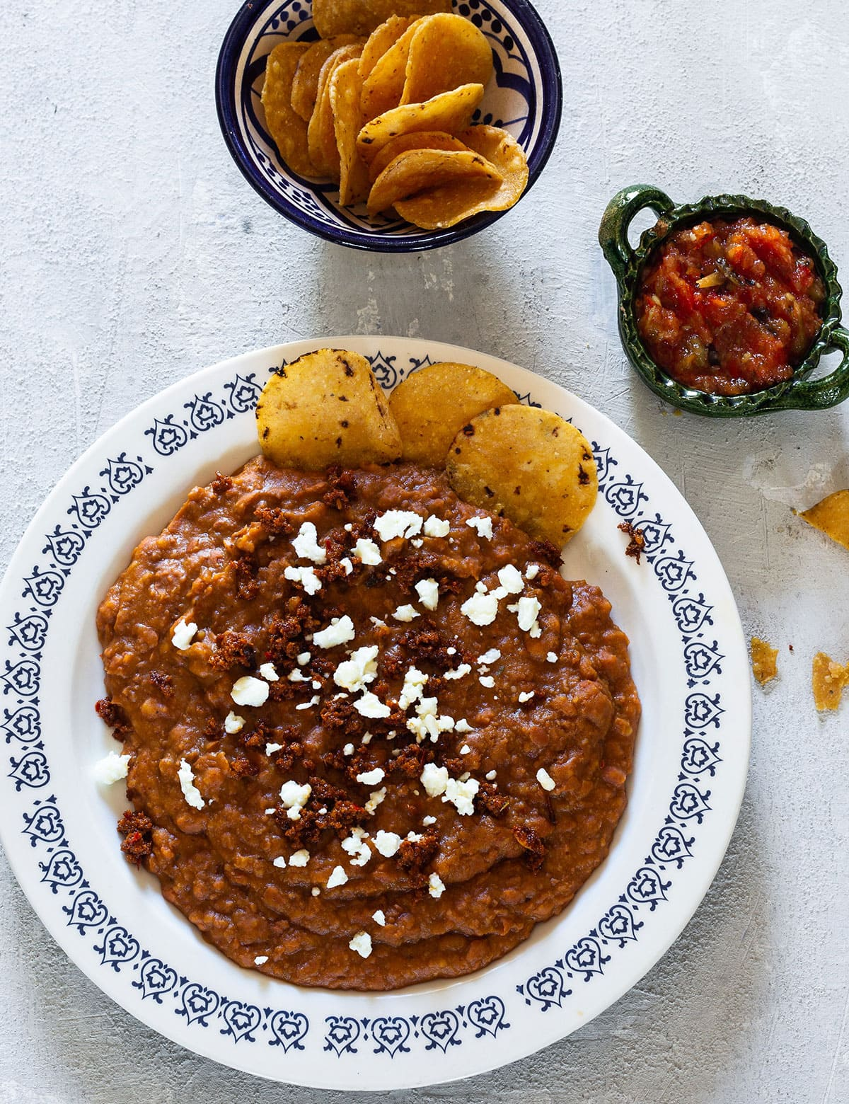 Refried beans with chorizo.