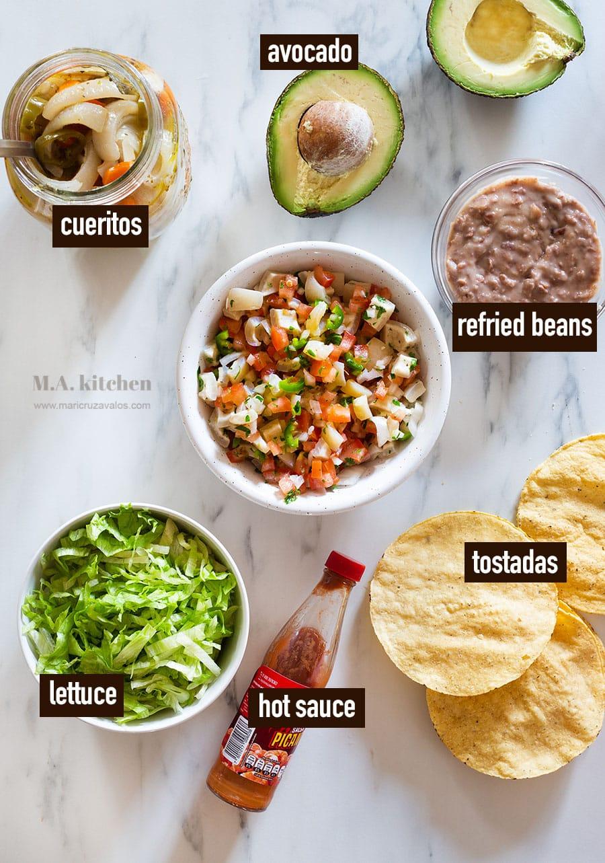 Ingredients for tostadas de cueritos.