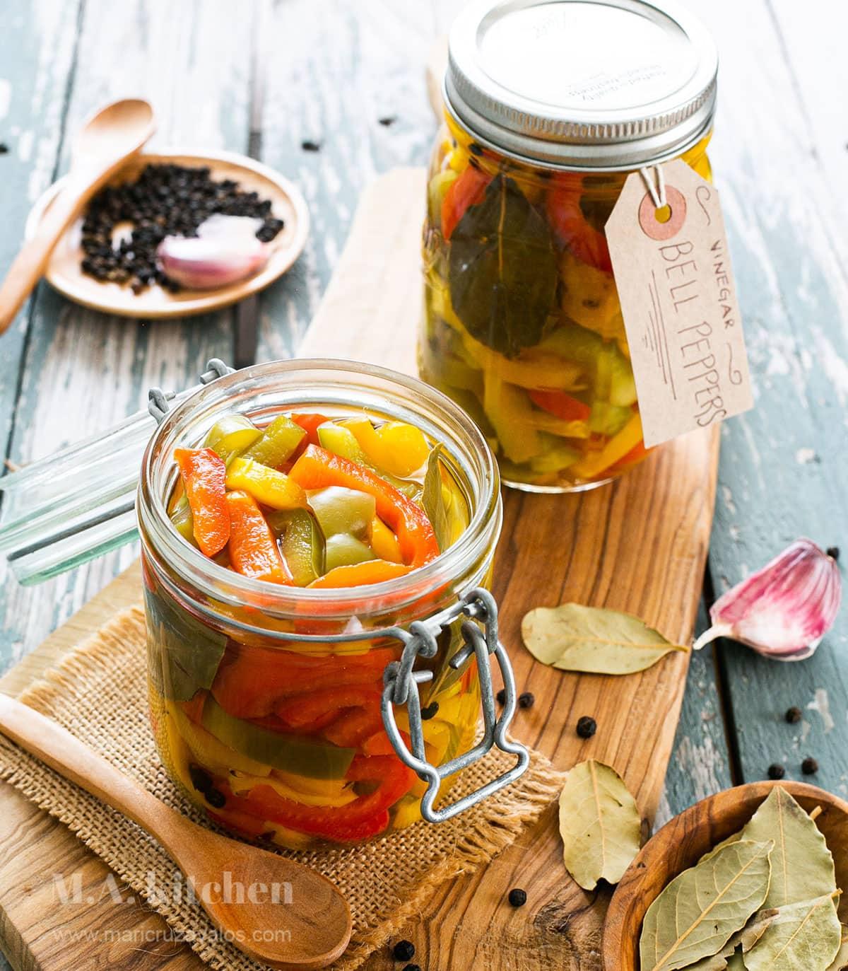 Italian pickled peppers in jars.
