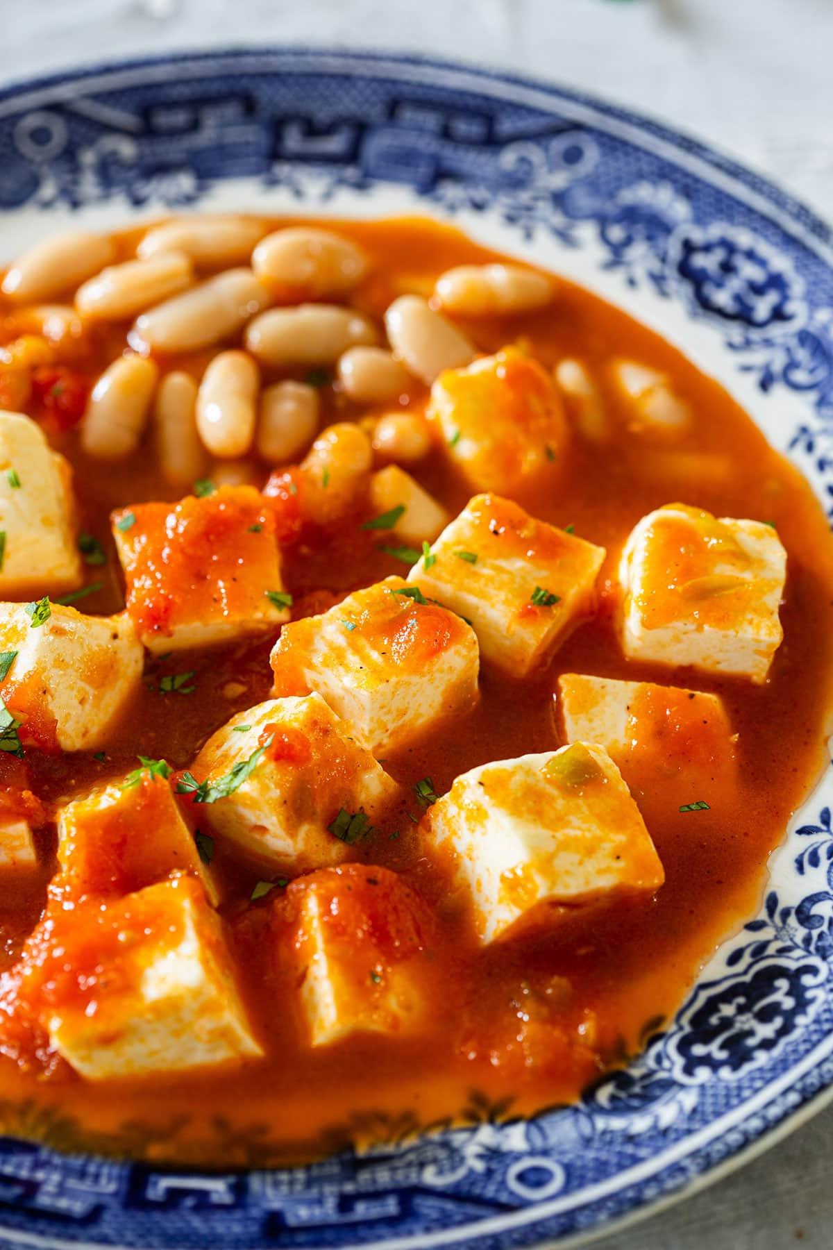 Closeup on queso con chile.