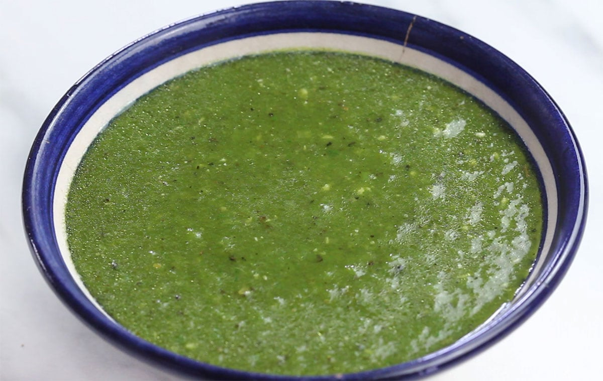 Spicy salsa for pozole verde on a small bowl.