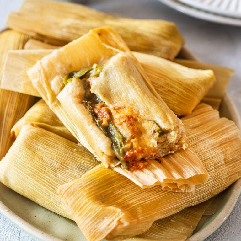 Tamales de Rajas (cheese and peppers tamales).