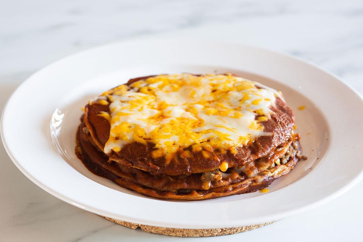 Baked stacked enchiladas.