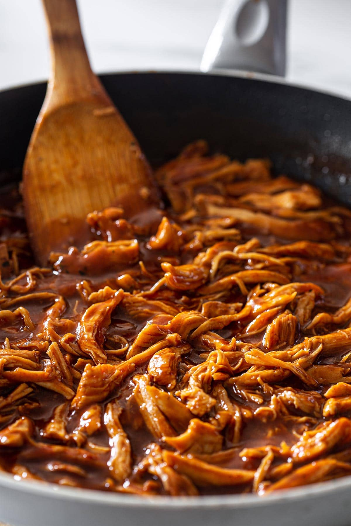 BBQ pulled chicken in a pan.