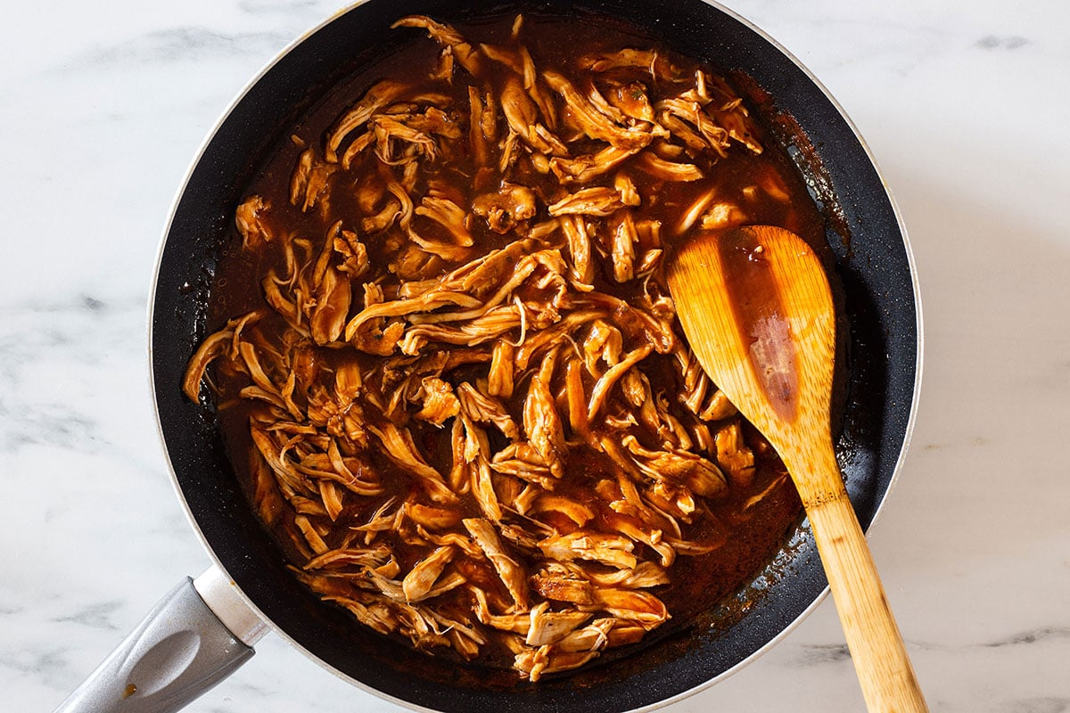 Pulled bbq chicken on a pan.