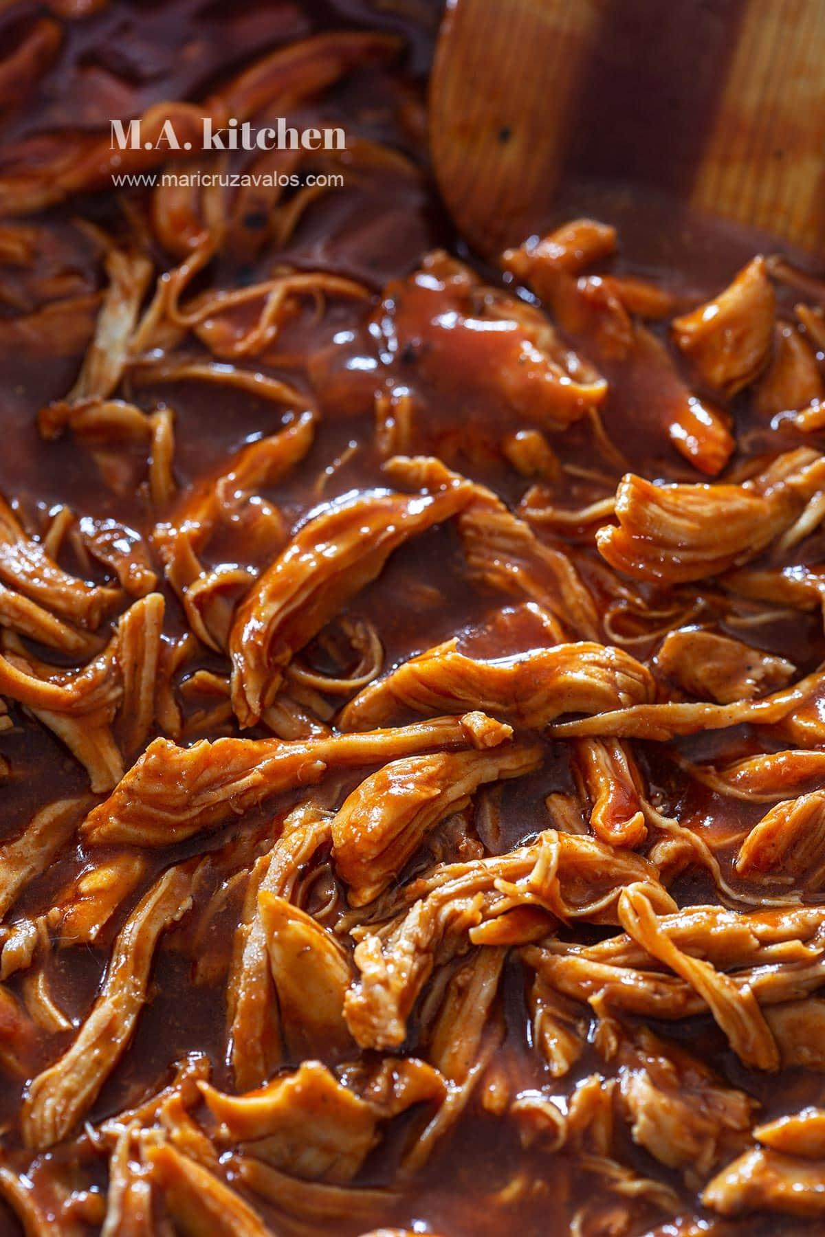 Shredded chicken in bbq sauce.