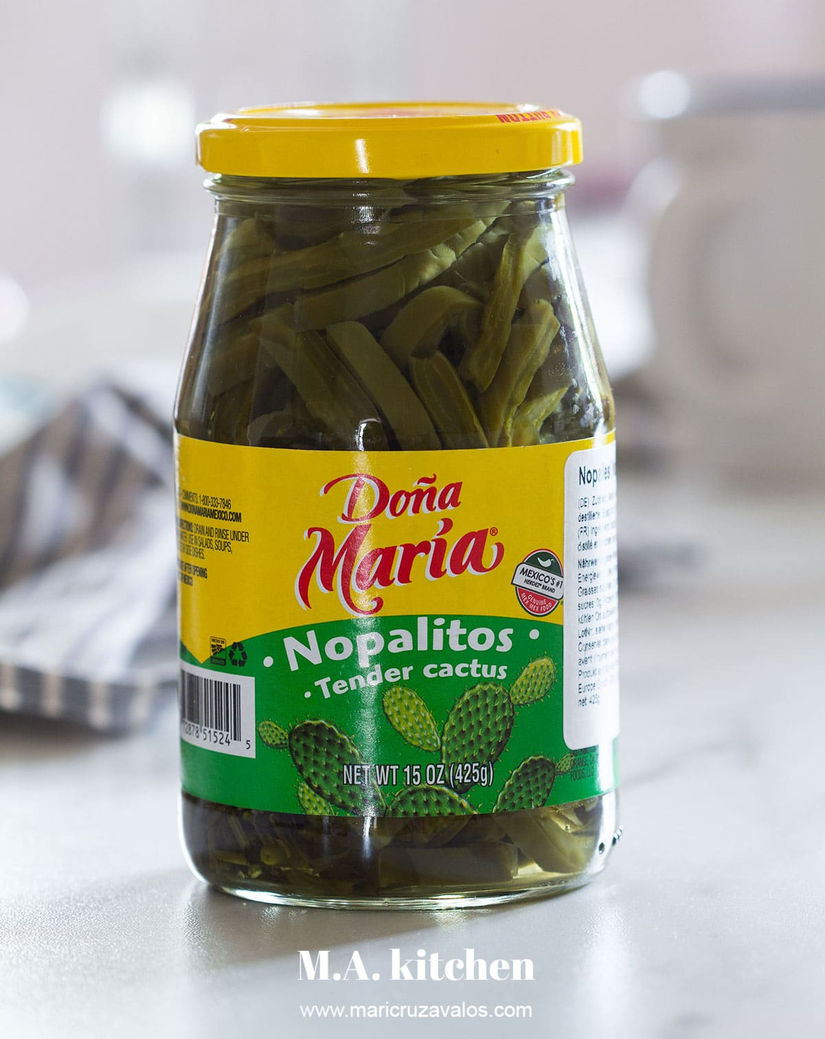 A jar of Doña Maria nopales.