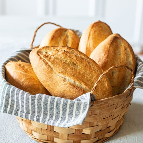 Mexican bolillos on a basket.