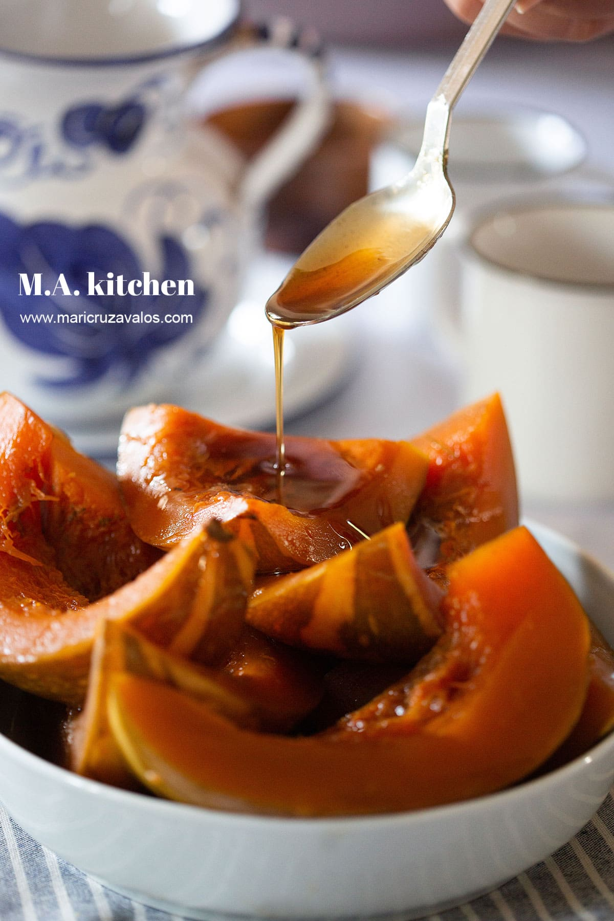 Drizzling piloncillo syrup over Mexican candied pumpkin.