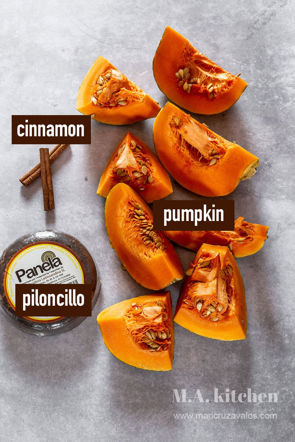 Mexican candied pumpkin ingredients labeled and displayed on a concrete surface.