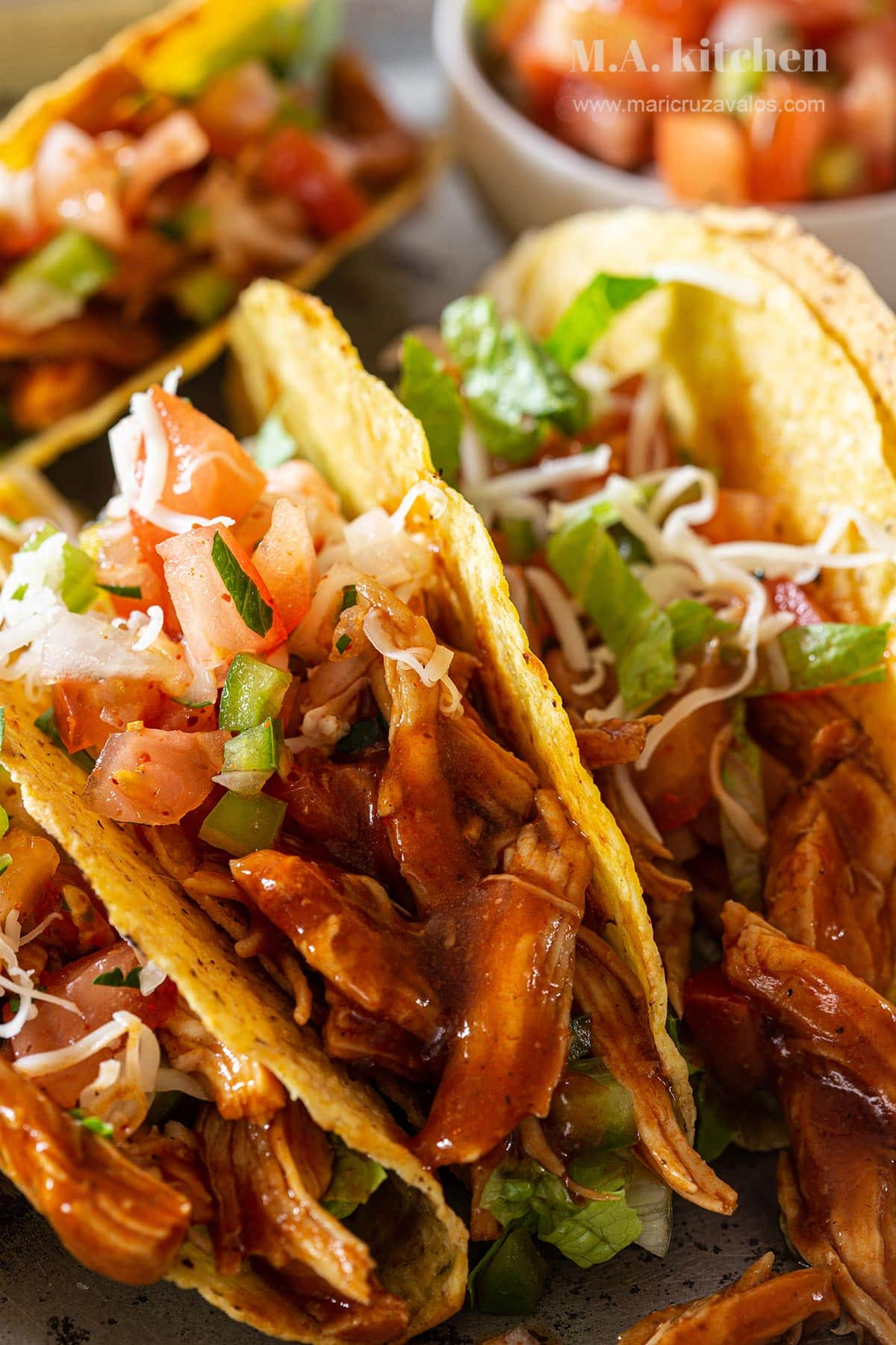 BBQ Pulled chicken tacos.