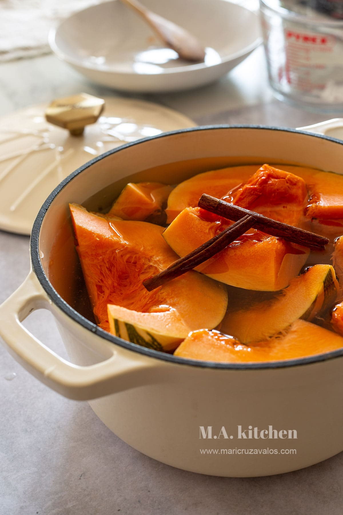 Mexican pumpkin in a pot with water, cinnamon and piloncillo.
