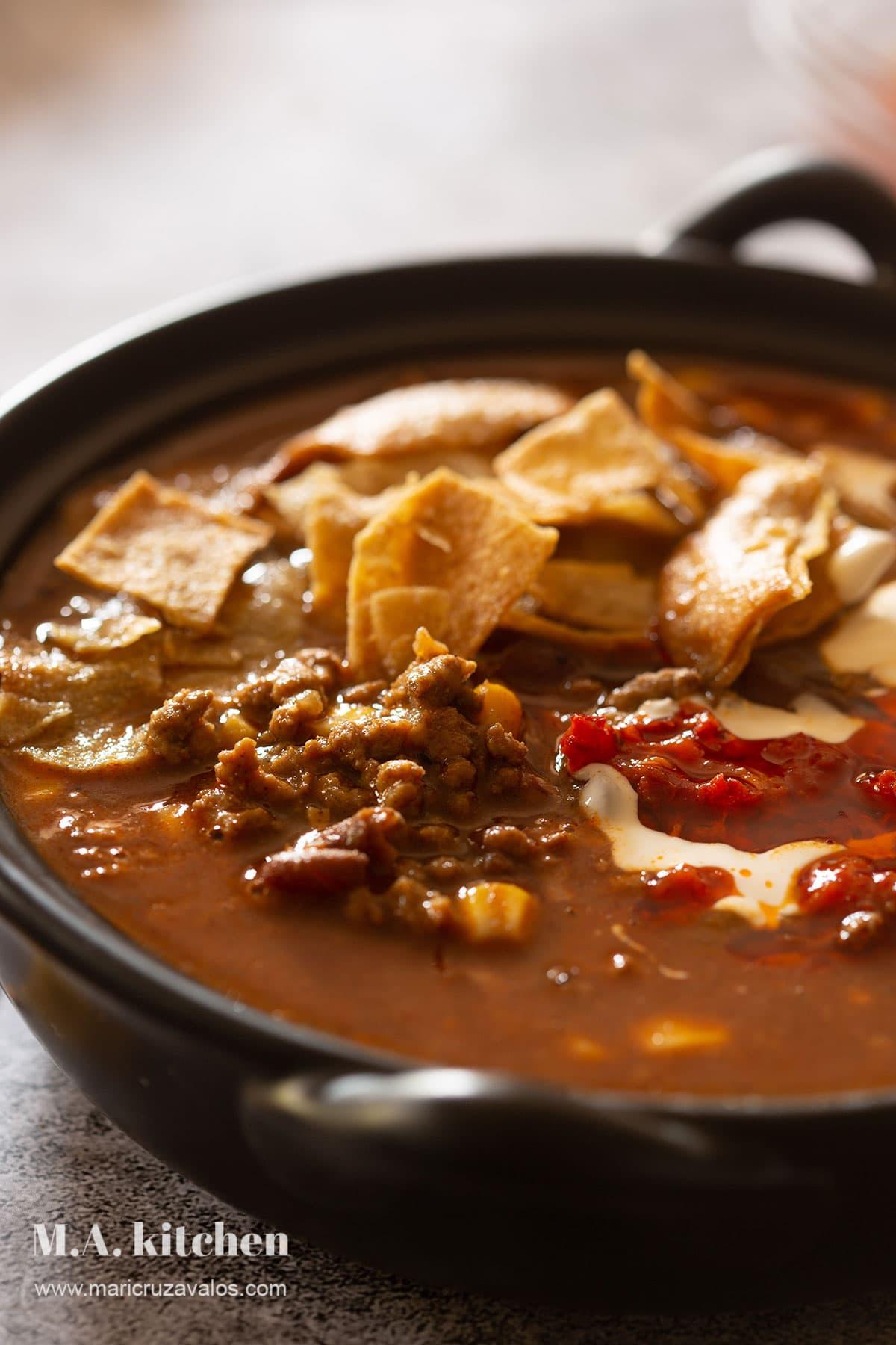 Tex-mex beef enchilada soup.