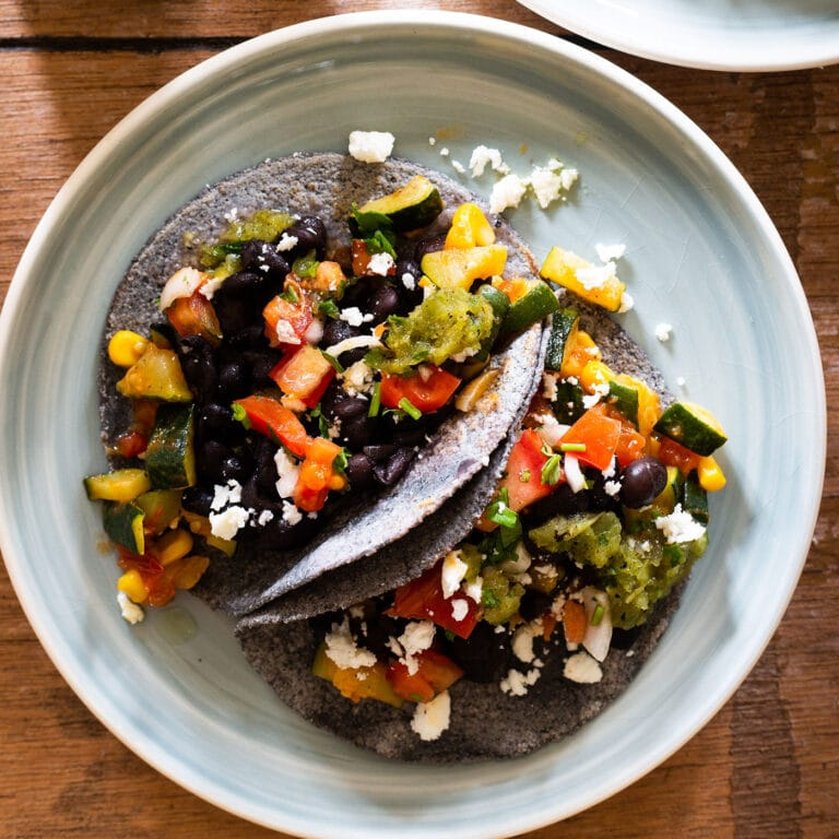 Blue Corn Tacos With Zucchini and Black Beans