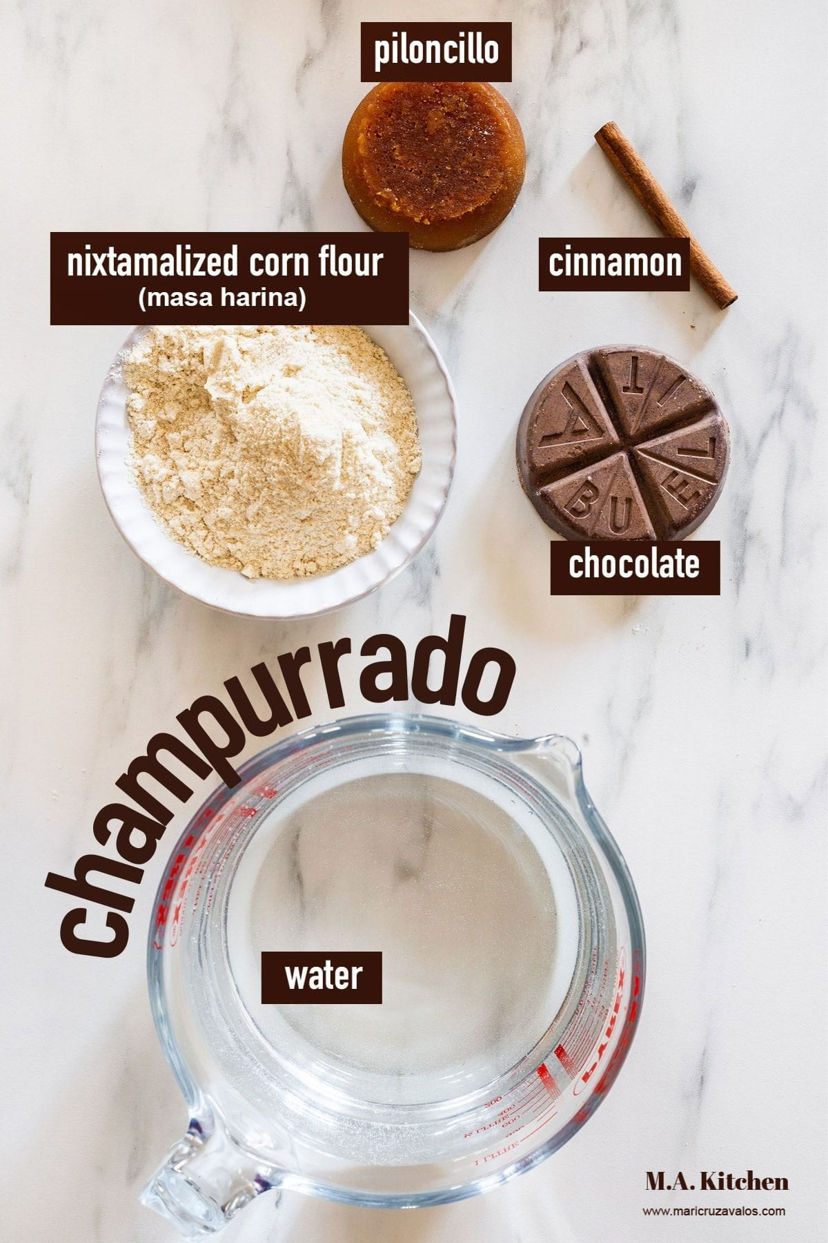 Champurrado ingredients labeled and displayed in a marble surface.