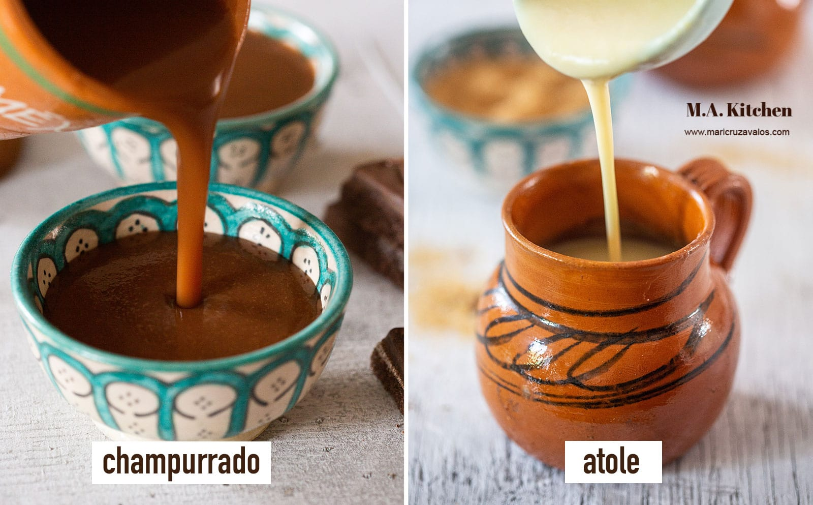 A collage showing champurrado and atole side to side.