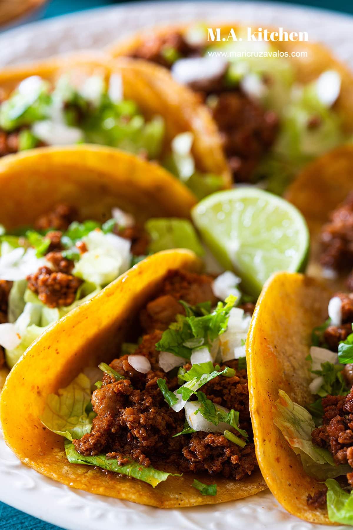 Chorizo tacos closeup.